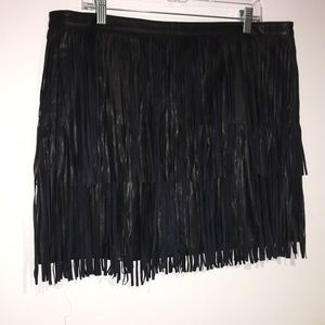 Ana two layer fringe leather look skirt